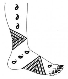 Mehndi Design Sketch on Paper for Girl