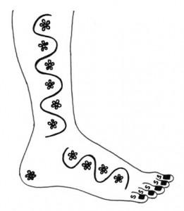 Full Foot Mehndi Design Sketch on Paper