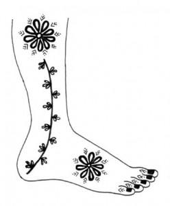 Mehndi Design Sketch on Paper for Outside Foot