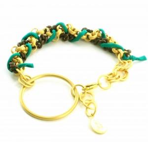 Gold Emerald Green Terracotta Bracelet