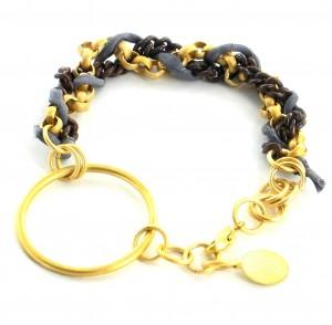 Gold Grey Terracotta Bracelet