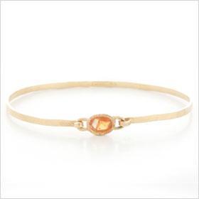 Handmade 14K Gold Bangle Bracelet with Orange Rose Cut Sapphire