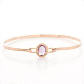Handmade 14K Gold Bangle Bracelet with Pink Rose Cut Sapphire