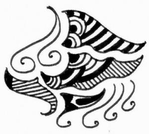 Latest Henna tattoo design on paper