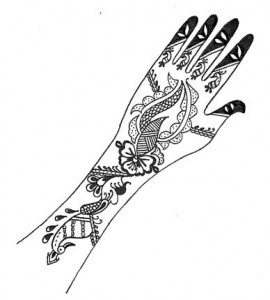 Pakistani Bridal Henna Design on Paper