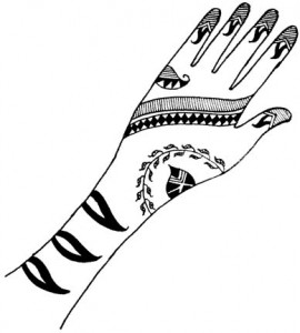 Henna Design on Paper for Inside Hand