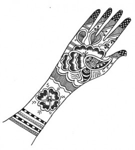 Full Hand Henna Design on Paper