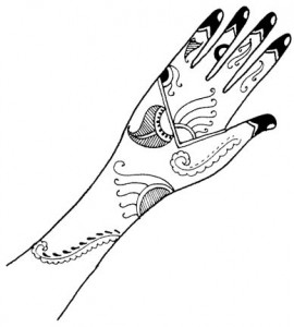 Henna Design on Paper for Both Hands