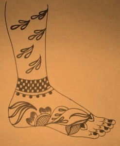 Pakistani Mehndi Design Sketch for Leg
