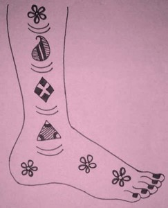 Full Leg Mehndi Design Sketch