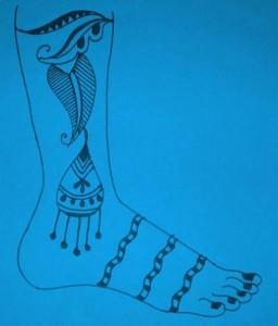 Beautiful Leg Mehndi Designs on Paper