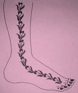 Mehndi Designs on Paper for Leg