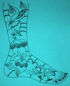 Mehndi Designs on Paper for Both Legs