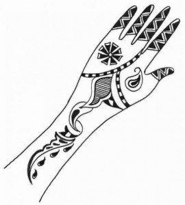 Pakistani Mehndi Design Sketch for Hand