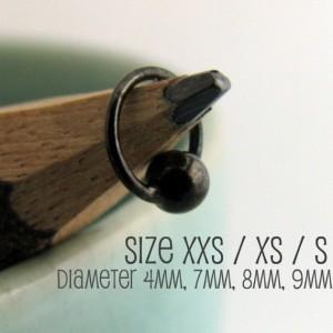 Men's Earrings Black Tiny Hoops - Ear Cartilage