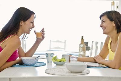 Mom and Daughter on Breakfast Table