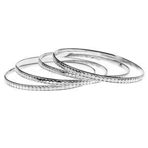 Set Of Four Sterling Silver Skinny Bangle Bracelets