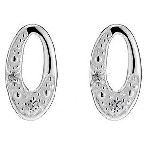 Silver Cubic Zirconia Large Stud Earrings