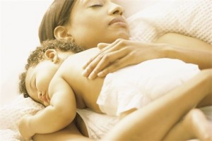 Sleeping Mom With Her Child