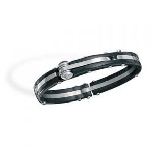 Stainless Steel and Black Plastic Men's Bracelet