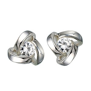 Sterling Silver Cubic Zirconia Knot Stud Earrings