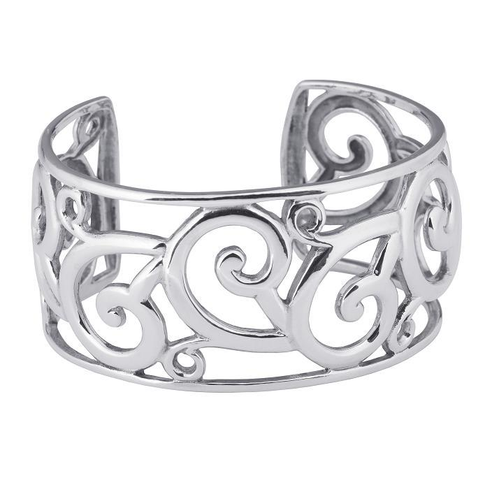 STERLING SILVER ANTIQUED EMBOSSED FLORAL CUFF BRACELET JEWELRY