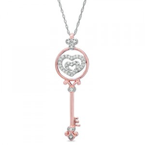 The Shared Heart® 1-6 CT. T.W. Diamond Key Pendant in 14K Rose Gold