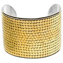 Two Inch Wide Celebrity Granulated Gold Plated Cuff Bracelet
