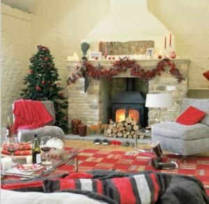 living room fireplace decoration for christnas red color scheme