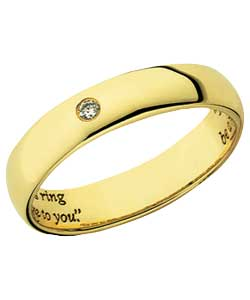 9ct Gold Diamond Set Commitment Ring - 4mm