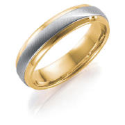 9ct Gold Two Colour Ladies 5mm Wedding Band, N