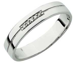 9ct White Gold 'I Love You' Diamond Set Wedding Ring