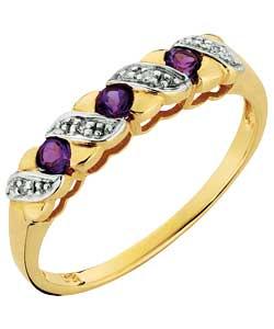 Amethyst and Diamond Kiss Half Eternity Ring