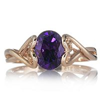 Brazilian Amethyst Solitaire Ring (ct Rose Gold