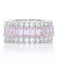Diamonique 3.9ct tw Pink Baguette Cut Eternity Ring Sterling Silver