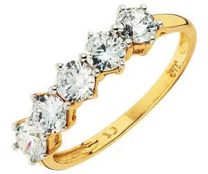 Gold Cubic Zirconia 5 Stone Eternity Ring