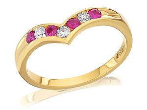 Gold Diamond And Ruby Wishbone Ring