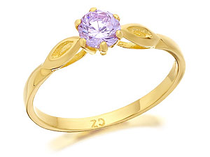 Gold Lavender Cubic Zirconia Solitaire Ring