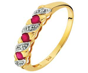 Gold Ruby and Diamond Kiss Half Eternity Ring