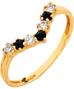 Gold Sapphire and Cubic Zirconia Wishbone Ring