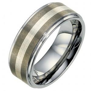 Men's tungsten & silver wedding ring