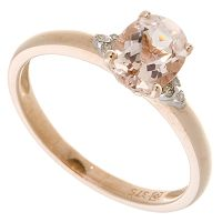 Mozambique Morganite & Diamond Ring 9ct Rose Gold