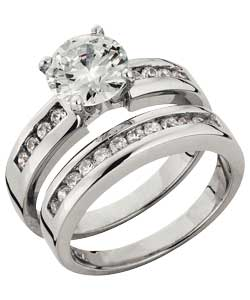 Platinum Plated Silver 2 Carat Look Cubic Zirconia Ring Set