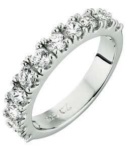 Platinum Plated Silver Cubic Zirconia Half Eternity Ring