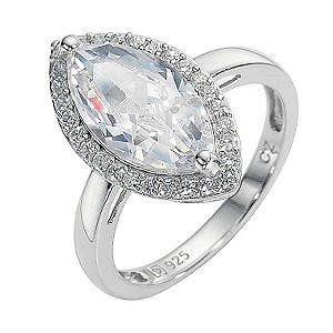 Platinum Plated Silver Cubic Zirconia Marquise Ring