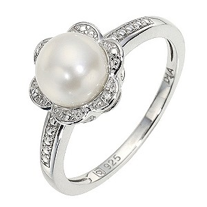 Silver & Diamond Flower Ring