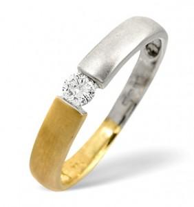 Solitaire Ring 0.11CT Diamond 2-Tone