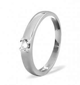 Solitaire Ring 0.11CT Diamond 9K White Gold