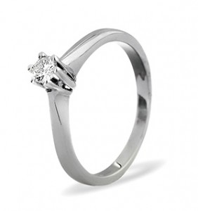 Solitaire Ring 0.15CT Diamond 9K White Gold