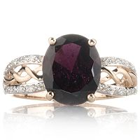 Tocantins Garnet & 0.1ct Diamond Solitaire Ring 9ct Rose Gold